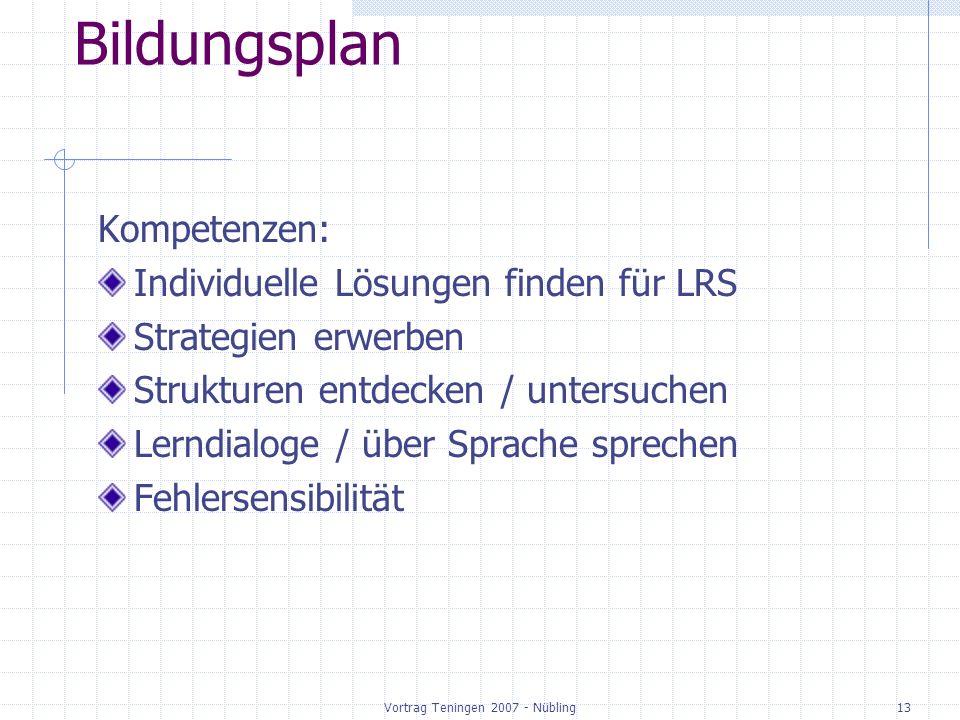 Vortrag Teningen 2007 - Nübling13 Bildungsplan Kompetenzen: Individuelle Lösungen finden für LRS Strategien erwerben Strukturen entdecken / untersuchen Lerndialoge / über Sprache sprechen Fehlersensibilität