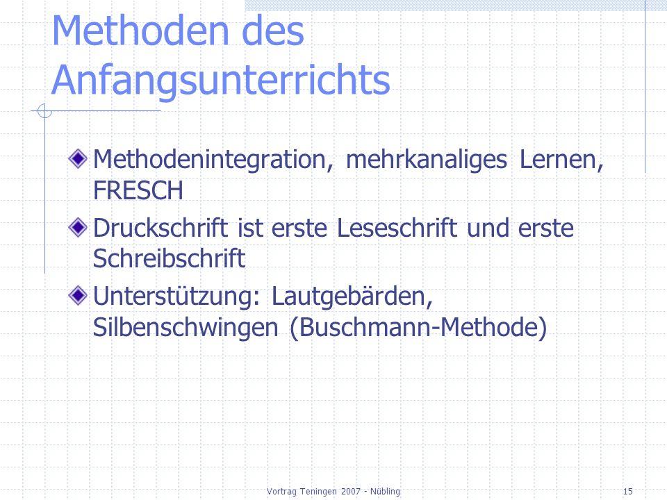 Vortrag Teningen 2007 - Nübling15 Methoden des Anfangsunterrichts Methodenintegration, mehrkanaliges Lernen, FRESCH Druckschrift ist erste Leseschrift und erste Schreibschrift Unterstützung: Lautgebärden, Silbenschwingen (Buschmann-Methode)
