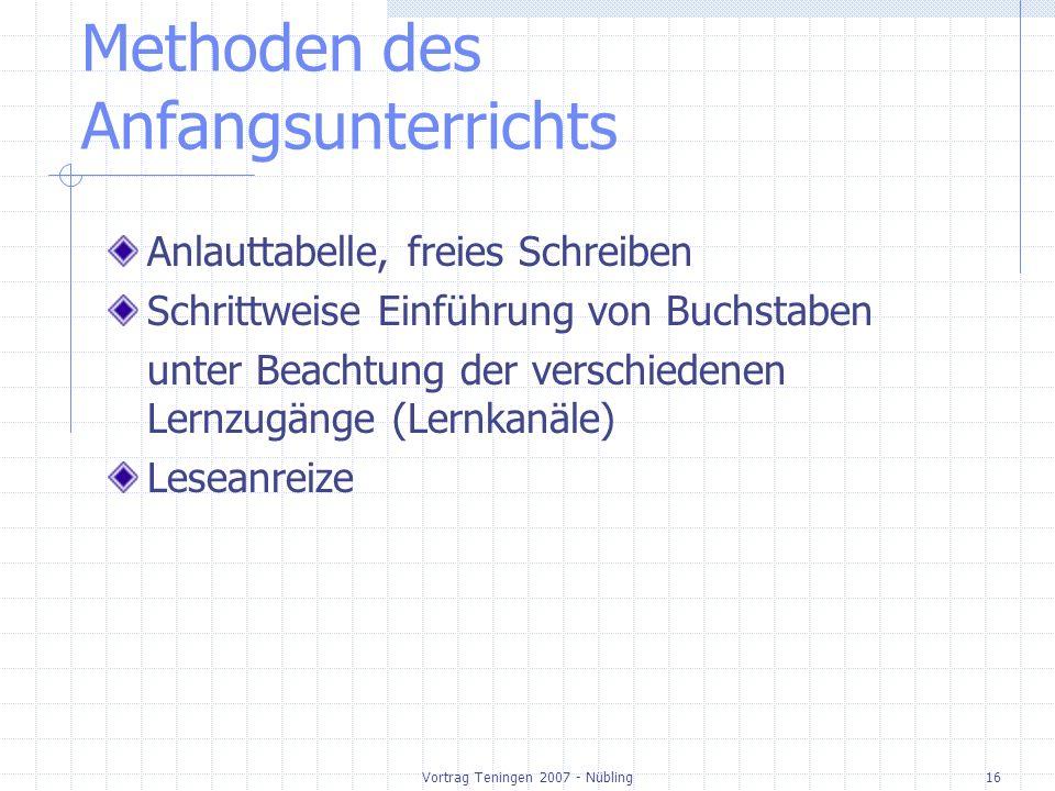 Vortrag Teningen 2007 - Nübling16 Methoden des Anfangsunterrichts Anlauttabelle, freies Schreiben Schrittweise Einführung von Buchstaben unter Beachtung der verschiedenen Lernzugänge (Lernkanäle) Leseanreize