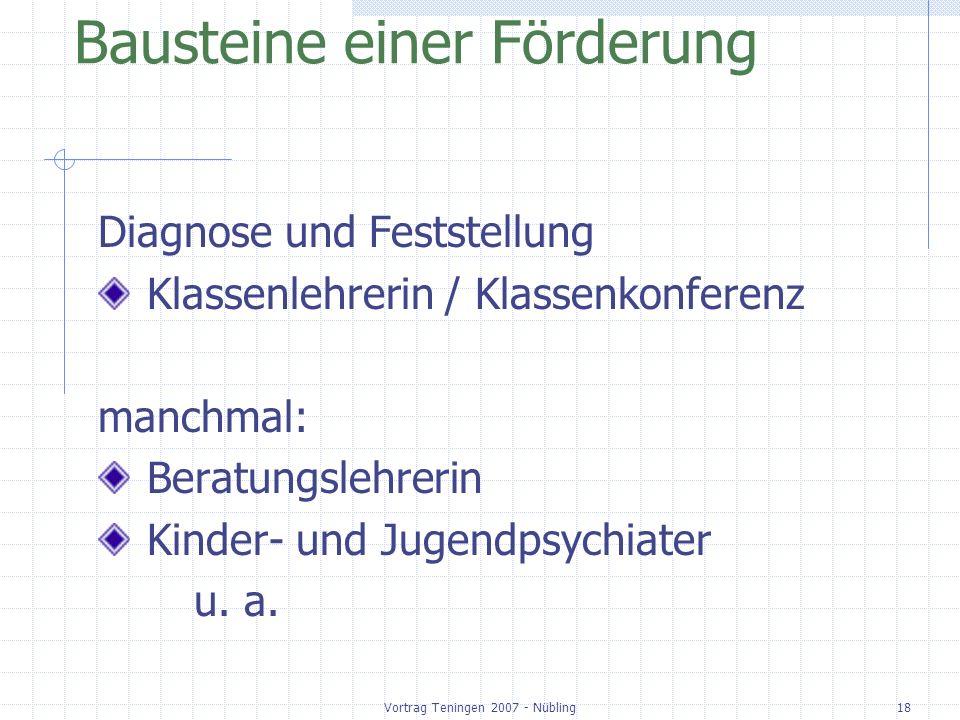 Vortrag Teningen 2007 - Nübling18 Bausteine einer Förderung Diagnose und Feststellung Klassenlehrerin / Klassenkonferenz manchmal: Beratungslehrerin Kinder- und Jugendpsychiater u.