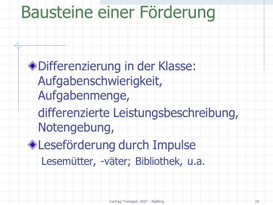 Vortrag Teningen 2007 - Nübling19 Bausteine einer Förderung Differenzierung in der Klasse: Aufgabenschwierigkeit, Aufgabenmenge, differenzierte Leistu