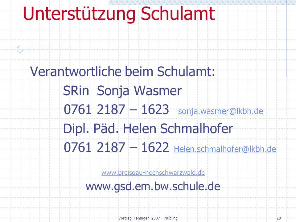 Vortrag Teningen 2007 - Nübling28 Unterstützung Schulamt Verantwortliche beim Schulamt: SRin Sonja Wasmer 0761 2187 – 1623 sonja.wasmer@lkbh.de sonja.wasmer@lkbh.de Dipl.