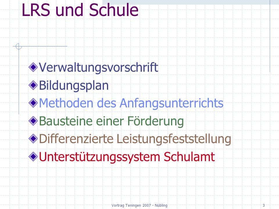 Vortrag Teningen 2007 - Nübling3 LRS und Schule Verwaltungsvorschrift Bildungsplan Methoden des Anfangsunterrichts Bausteine einer Förderung Differenzierte Leistungsfeststellung Unterstützungssystem Schulamt