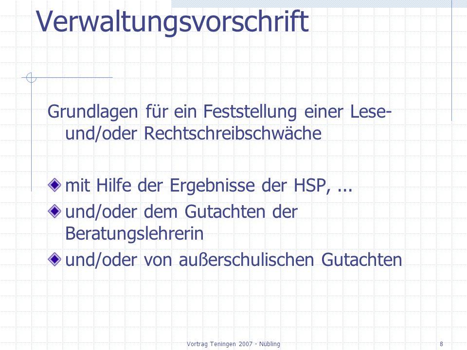 Vortrag Teningen 2007 - Nübling8 Verwaltungsvorschrift Grundlagen für ein Feststellung einer Lese- und/oder Rechtschreibschwäche mit Hilfe der Ergebnisse der HSP,...