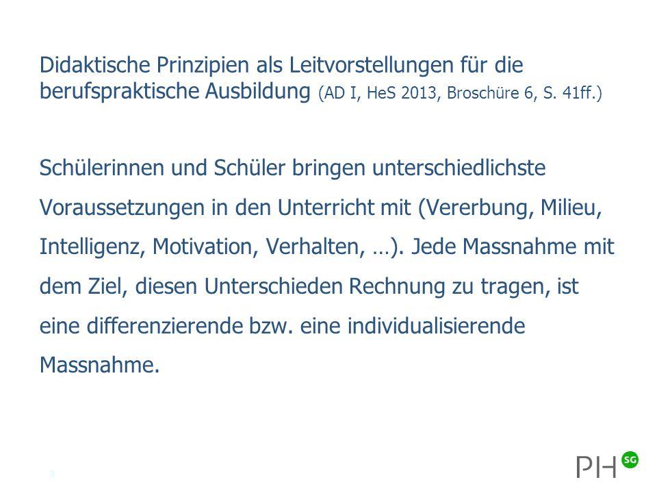 3 Didaktische Prinzipien als Leitvorstellungen für die berufspraktische Ausbildung (AD I, HeS 2013, Broschüre 6, S.