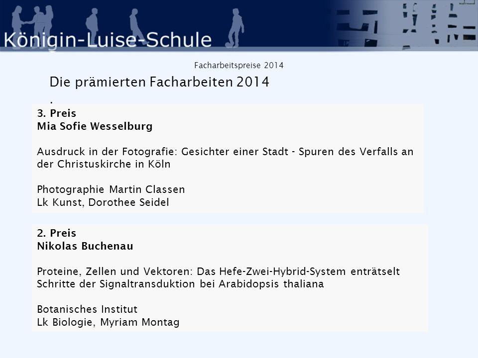 Facharbeitspreise 2014 Die prämierten Facharbeiten 2014 : 2.