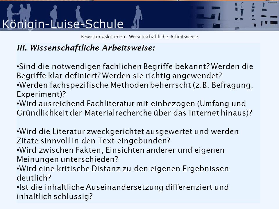 Bewertungskriterien: Sprache IV.