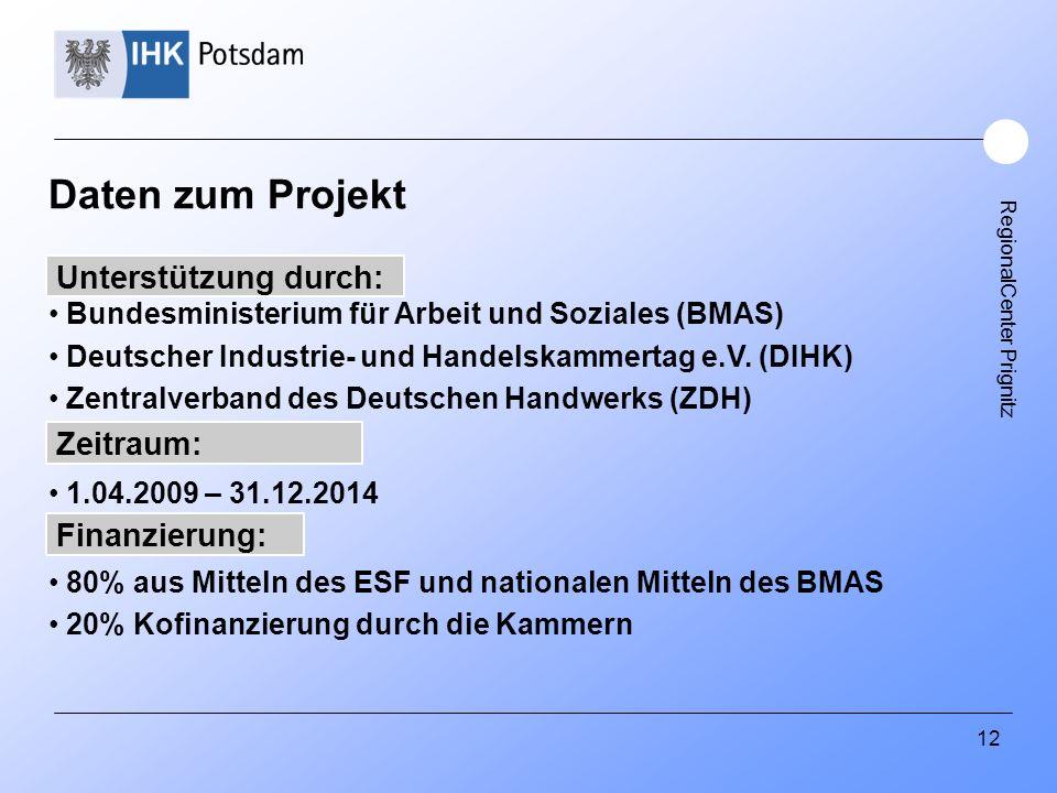 RegionalCenter Prignitz 12 Daten zum Projekt Bundesministerium für Arbeit und Soziales (BMAS) Deutscher Industrie- und Handelskammertag e.V. (DIHK) Ze