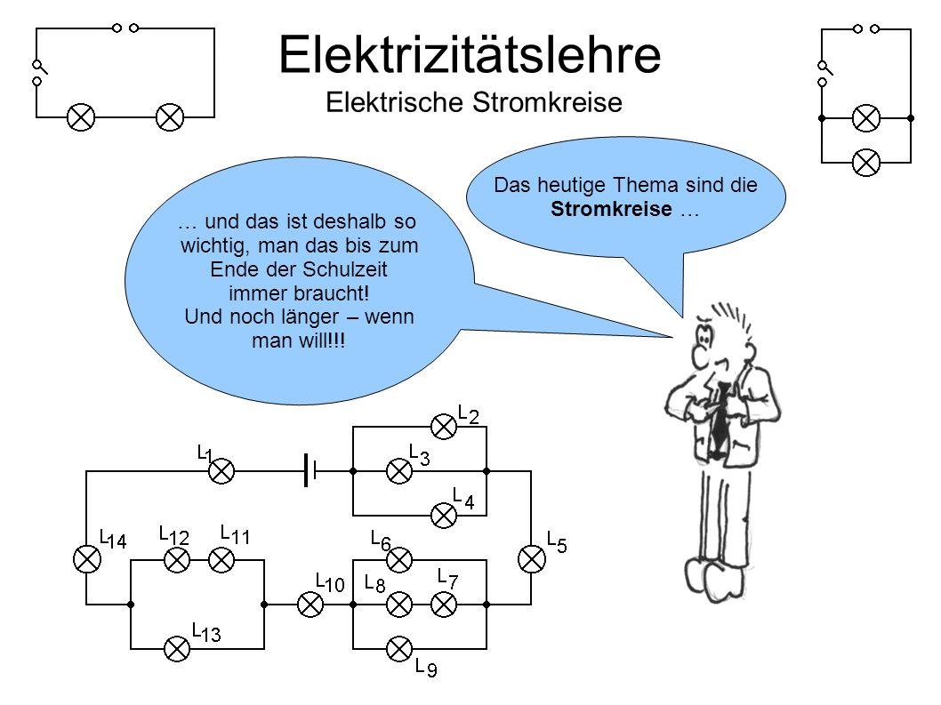 Elektrizitätslehre Elektrische Stromkreise Elektrischer Strom kann nur in geschlossenen Stromkreisen fließen und braucht eine Spannungsquelle!