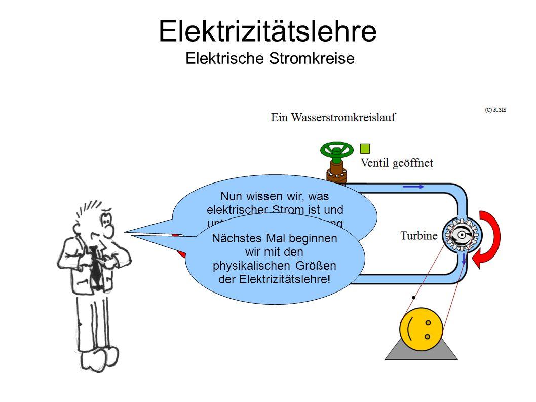 Elektrizitätslehre Elektrische Stromkreise Nun wissen wir, was elektrischer Strom ist und unter welchen Bedingung er fließen kann.