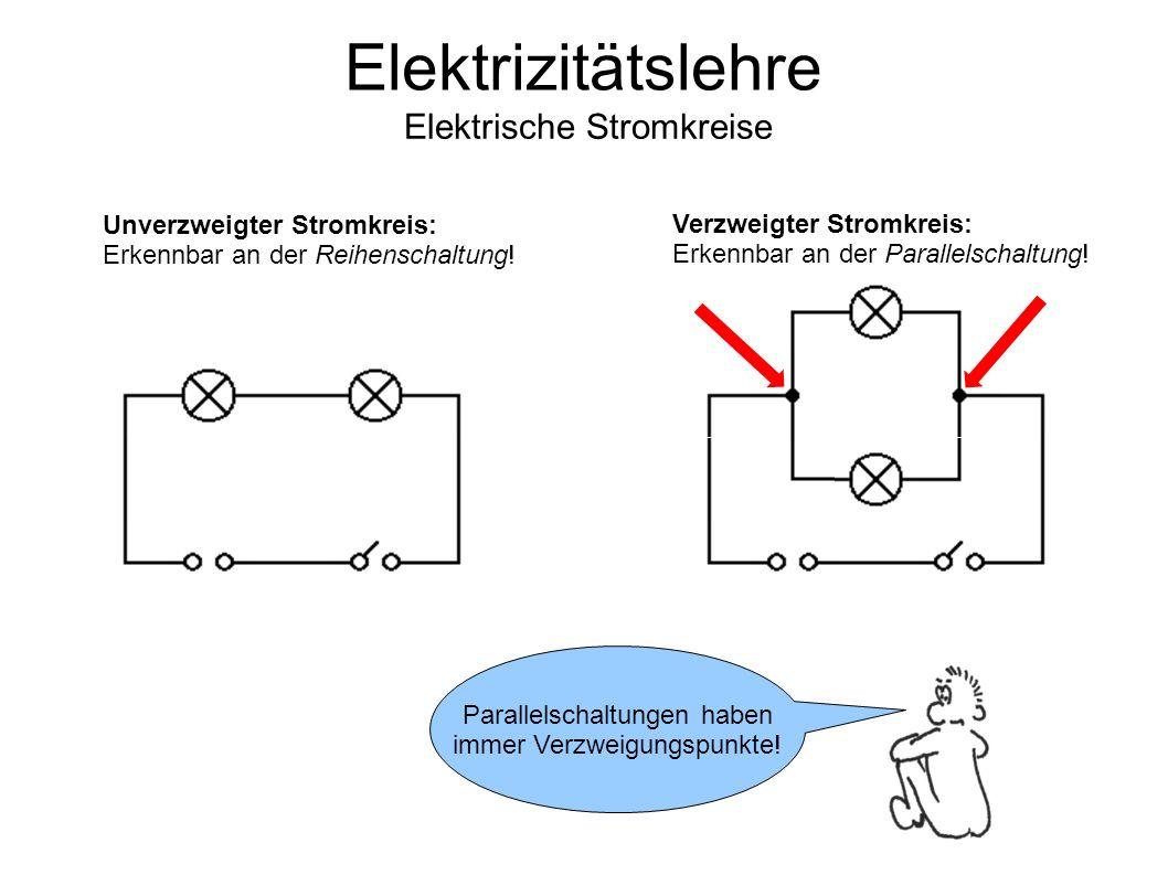 Unverzweigter Stromkreis: Erkennbar an der Reihenschaltung.