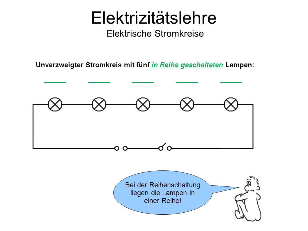 Unverzweigter Stromkreis mit fünf in Reihe geschalteten Lampen: Elektrizitätslehre Elektrische Stromkreise Bei der Reihenschaltung liegen die Lampen in einer Reihe!