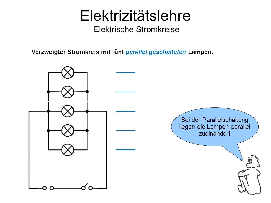 Elektrizitätslehre Elektrische Stromkreise Bei der Parallelschaltung liegen die Lampen parallel zueinander.