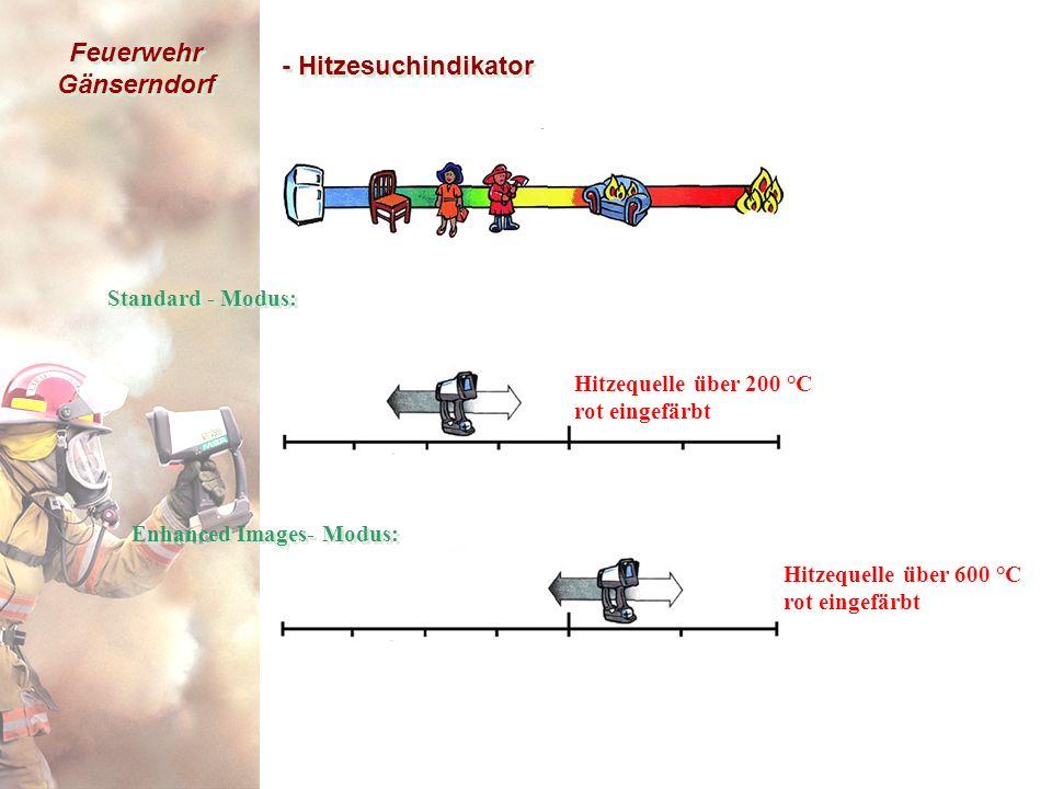 Feuerwehr Gänserndorf - Hitzesuchindikator Hitzequelle über 600 °C rot eingefärbt Enhanced Images- Modus: Hitzequelle über 200 °C rot eingefärbt Standard - Modus: