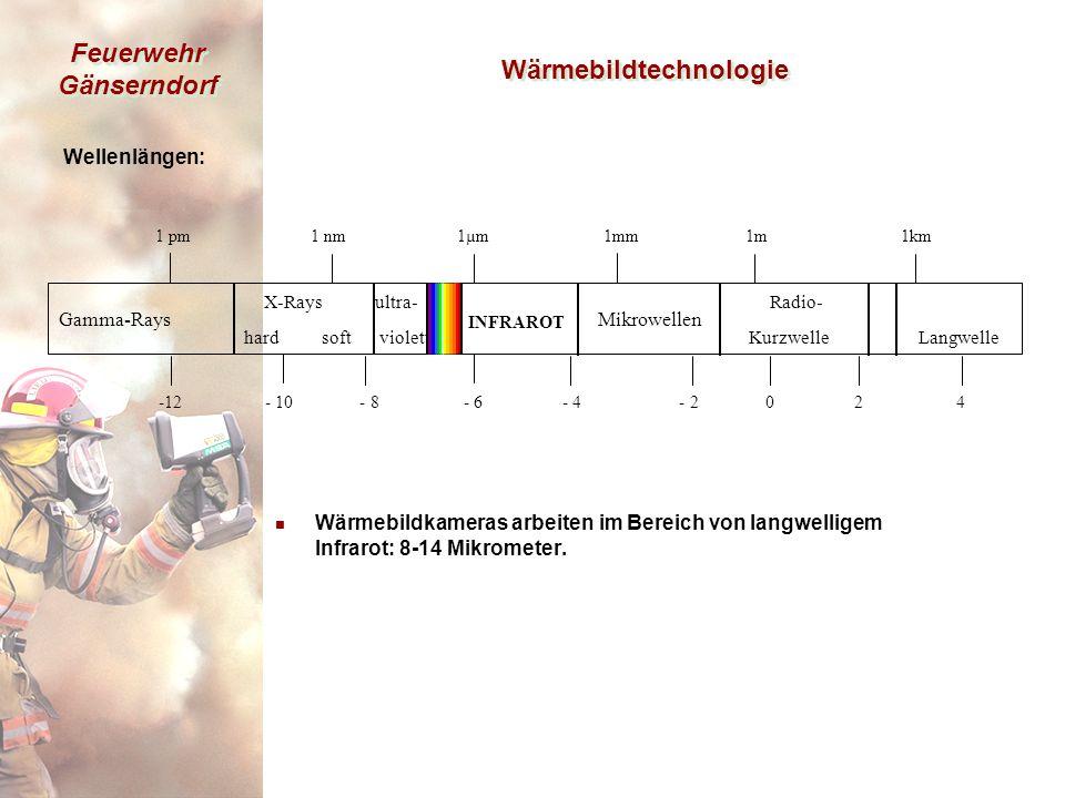 Feuerwehr Gänserndorf Wärmebildtechnologie Wellenlängen: n Wärmebildkameras arbeiten im Bereich von langwelligem Infrarot: 8-14 Mikrometer.