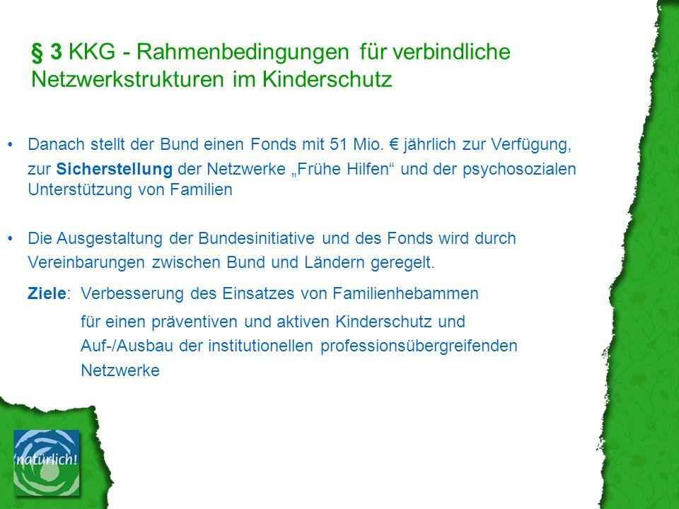 § 3 KKG - Rahmenbedingungen für verbindliche Netzwerkstrukturen im Kinderschutz Danach stellt der Bund einen Fonds mit 51 Mio.