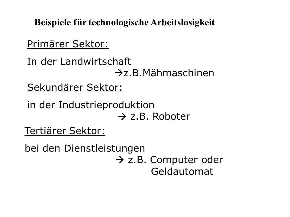 Beispiele für technologische Arbeitslosigkeit Primärer Sektor: In der Landwirtschaft  z.B.Mähmaschinen Sekundärer Sektor: in der Industrieproduktion