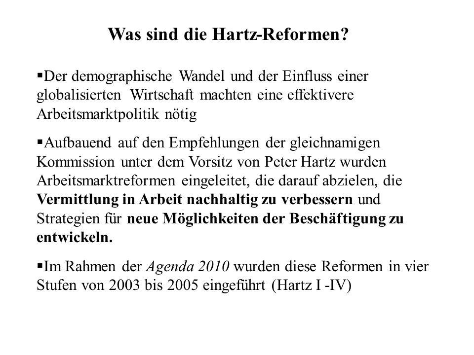 Was sind die Hartz-Reformen?  Der demographische Wandel und der Einfluss einer globalisierten Wirtschaft machten eine effektivere Arbeitsmarktpolitik