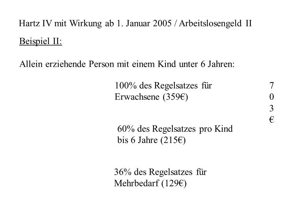 Hartz IV mit Wirkung ab 1. Januar 2005 / Arbeitslosengeld II Beispiel II: Allein erziehende Person mit einem Kind unter 6 Jahren: 100% des Regelsatzes