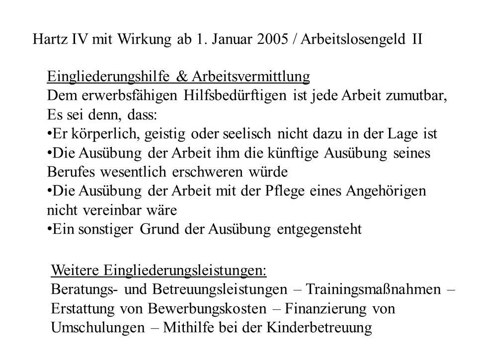 Hartz IV mit Wirkung ab 1. Januar 2005 / Arbeitslosengeld II Eingliederungshilfe & Arbeitsvermittlung Dem erwerbsfähigen Hilfsbedürftigen ist jede Arb