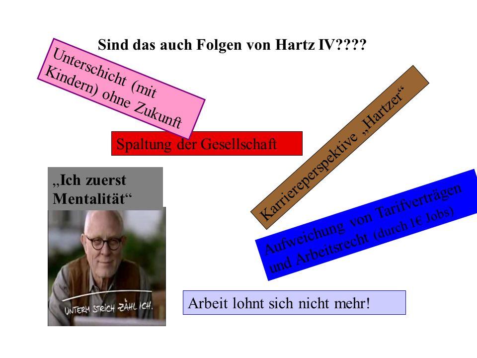 """Sind das auch Folgen von Hartz IV???? Spaltung der Gesellschaft Karriereperspektive """"Hartzer"""" """"Ich zuerst Mentalität"""" Arbeit lohnt sich nicht mehr! Un"""