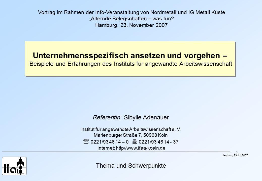 """Hamburg 23-11-2007 1 Thema und Schwerpunkte Vortrag im Rahmen der Info-Veranstaltung von Nordmetall und IG Metall Küste """"Alternde Belegschaften – was tun."""