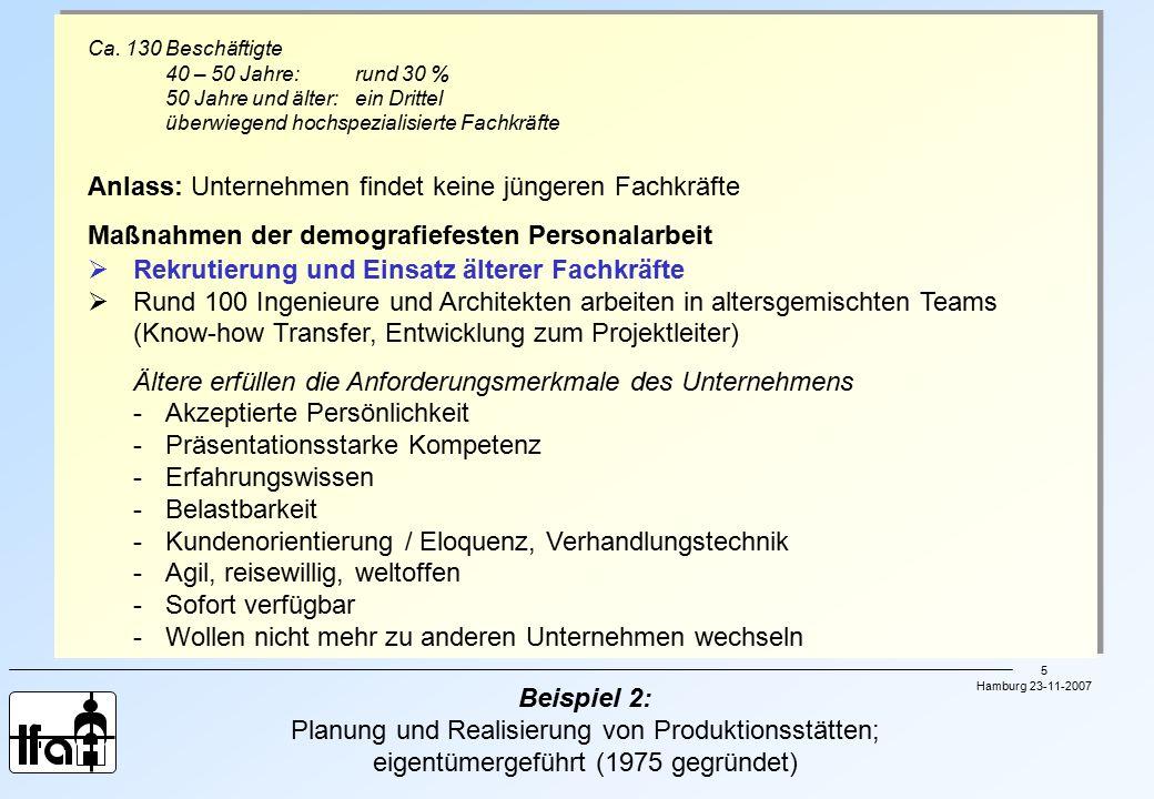 Hamburg 23-11-2007 6 Beispiel 3: Fertigung von gebäudetechnischen Armaturen sowie Pumpen für die Industrie, für die Wasserversorgung und Energietechnik Rund 1.700 Beschäftigte am Standort; Angestellte: 60,5 %; Frauenquote: 15 %; hoher Anteil Facharbeiter; Altersstruktur: jeder 3.