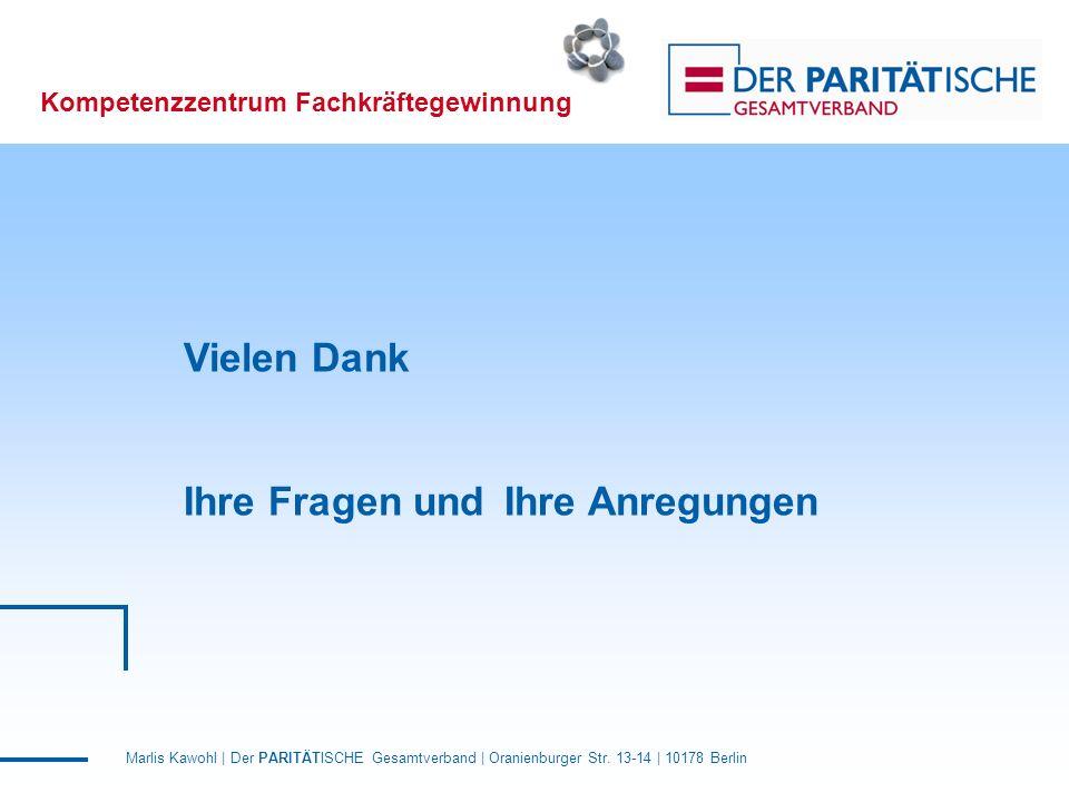 Marlis Kawohl | Der PARITÄTISCHE Gesamtverband | Oranienburger Str. 13-14 | 10178 Berlin Kompetenzzentrum Fachkräftegewinnung Vielen Dank Ihre Fragen