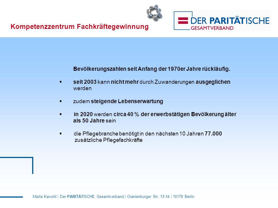 Marlis Kawohl | Der PARITÄTISCHE Gesamtverband | Oranienburger Str. 13-14 | 10178 Berlin Kompetenzzentrum Fachkräftegewinnung Bevölkerungszahlen seit