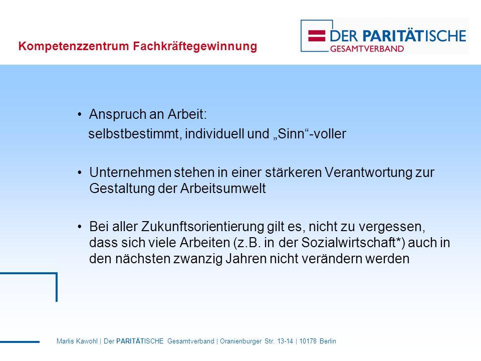 Marlis Kawohl | Der PARITÄTISCHE Gesamtverband | Oranienburger Str. 13-14 | 10178 Berlin Kompetenzzentrum Fachkräftegewinnung Anspruch an Arbeit: selb