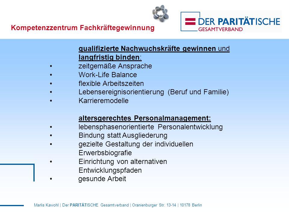 Marlis Kawohl | Der PARITÄTISCHE Gesamtverband | Oranienburger Str. 13-14 | 10178 Berlin Kompetenzzentrum Fachkräftegewinnung qualifizierte Nachwuchsk
