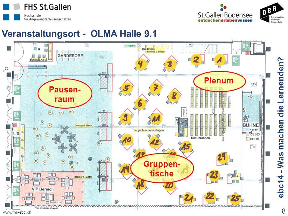 www.fhs-ebc.ch Veranstaltungsort - OLMA Halle 9.1 Gruppen- tische Plenum Pausen- raum 8 ebc14 - Was machen die Lernenden