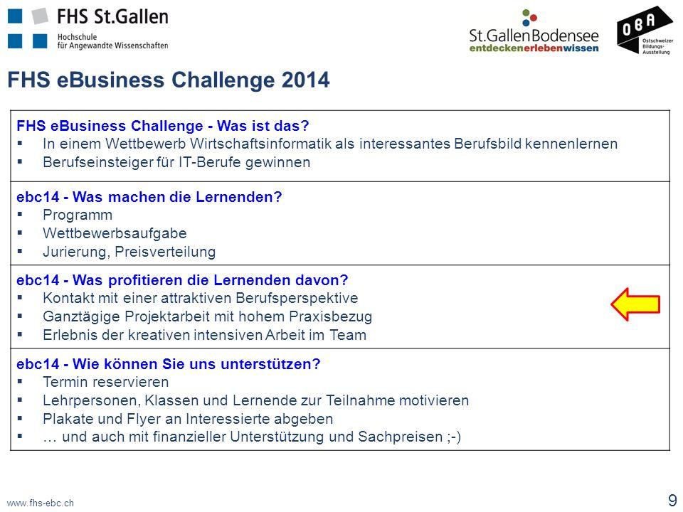 www.fhs-ebc.ch FHS eBusiness Challenge - Was ist das?  In einem Wettbewerb Wirtschaftsinformatik als interessantes Berufsbild kennenlernen  Berufsei