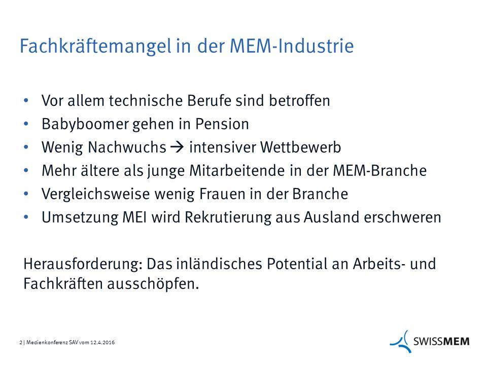 2 | Medienkonferenz SAV vom 12.4.2016 Fachkräftemangel in der MEM-Industrie Vor allem technische Berufe sind betroffen Babyboomer gehen in Pension Wen