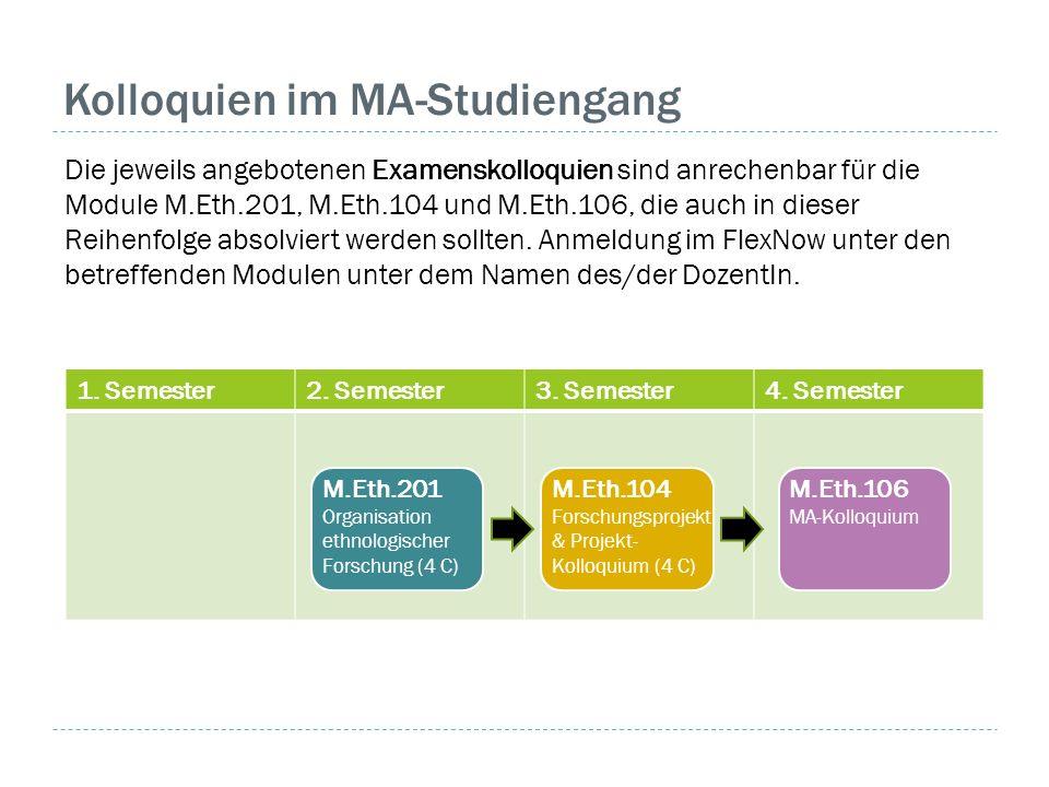 1. Semester2. Semester3. Semester4. Semester Kolloquien im MA-Studiengang Die jeweils angebotenen Examenskolloquien sind anrechenbar für die Module M.