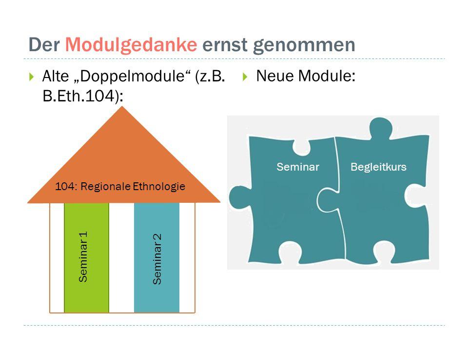 """Der Modulgedanke ernst genommen  Alte """"Doppelmodule"""" (z.B. B.Eth.104):  Neue Module: Seminar 1 Seminar 2 104: Regionale Ethnologie BegleitkursSemina"""