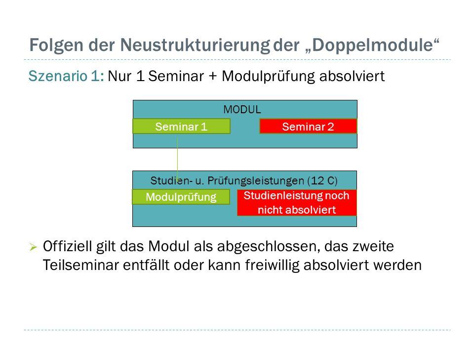 """Folgen der Neustrukturierung der """"Doppelmodule"""" Szenario 1: Nur 1 Seminar + Modulprüfung absolviert  Offiziell gilt das Modul als abgeschlossen, das"""