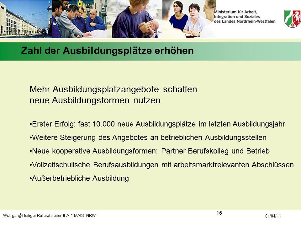 Wolfgang Heiliger Referatsleiter II A 1 MAIS NRW 01/04/11 15 Mehr Ausbildungsplatzangebote schaffen neue Ausbildungsformen nutzen Erster Erfolg: fast