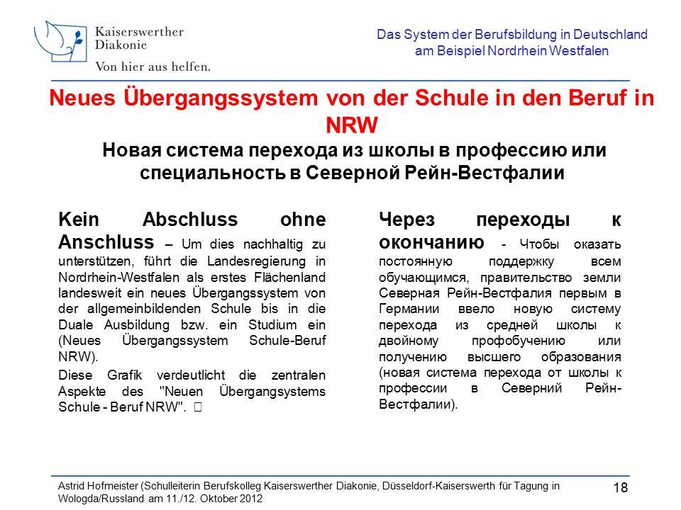 Neues Übergangssystem von der Schule in den Beruf in NRW Новая система перехода из школы в профессию или специальность в Северной Рейн-Вестфалии Kein