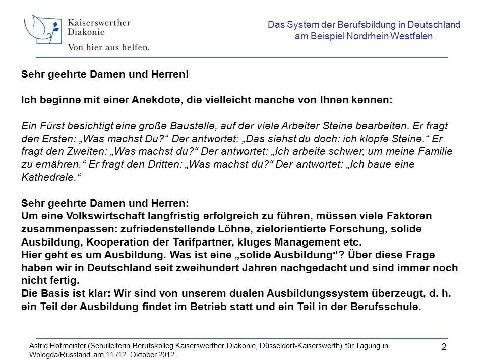 Astrid Hofmeister (Schulleiterin Berufskolleg Kaiserswerther Diakonie, Düsseldorf Kaiserswerth für Tagung in Wologda/Russland am 11./12.