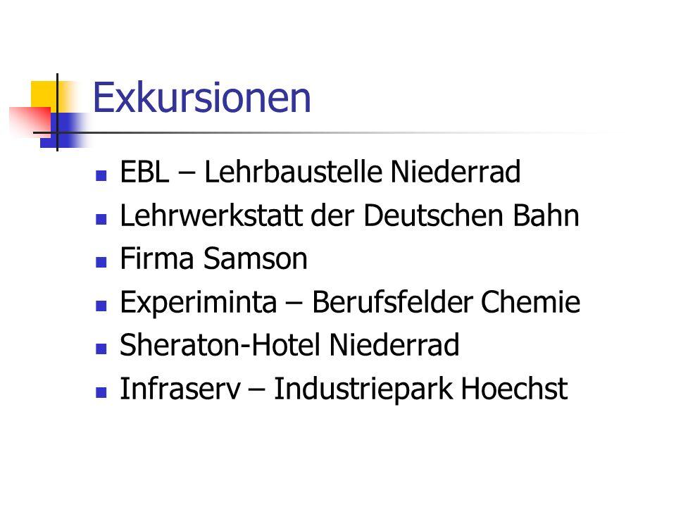 Exkursionen EBL – Lehrbaustelle Niederrad Lehrwerkstatt der Deutschen Bahn Firma Samson Experiminta – Berufsfelder Chemie Sheraton-Hotel Niederrad Infraserv – Industriepark Hoechst
