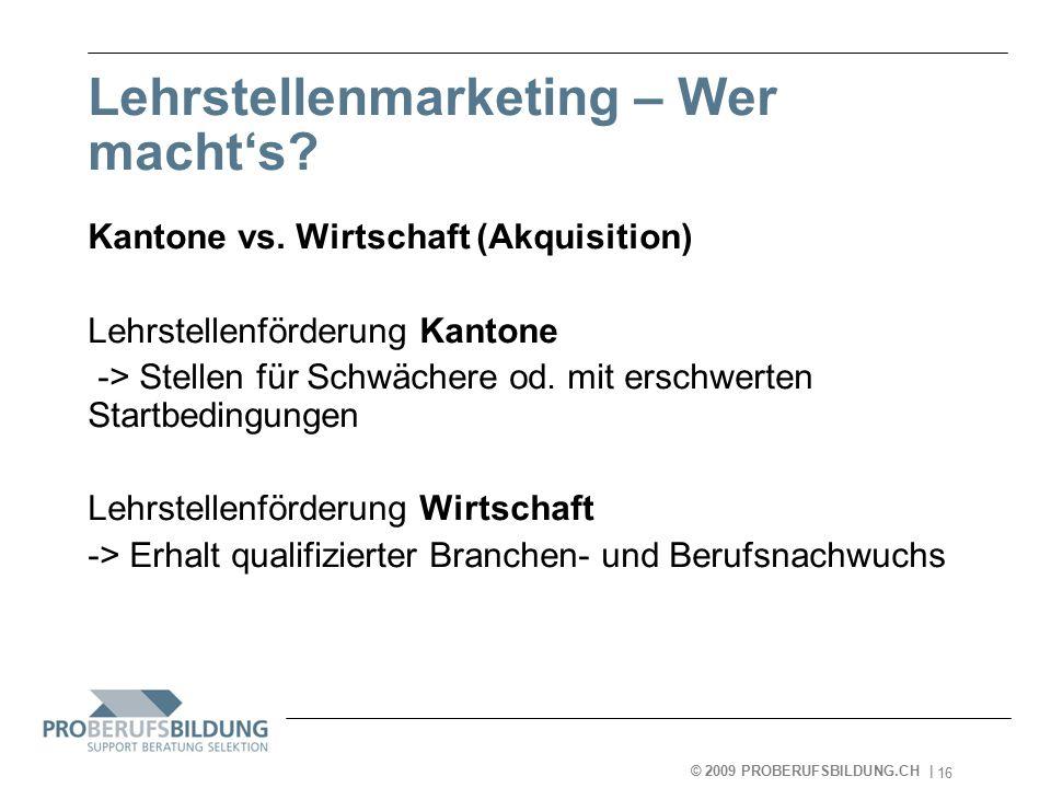 © 2009 PROBERUFSBILDUNG.CH | 2007-05-15 16 Lehrstellenmarketing – Wer macht's.