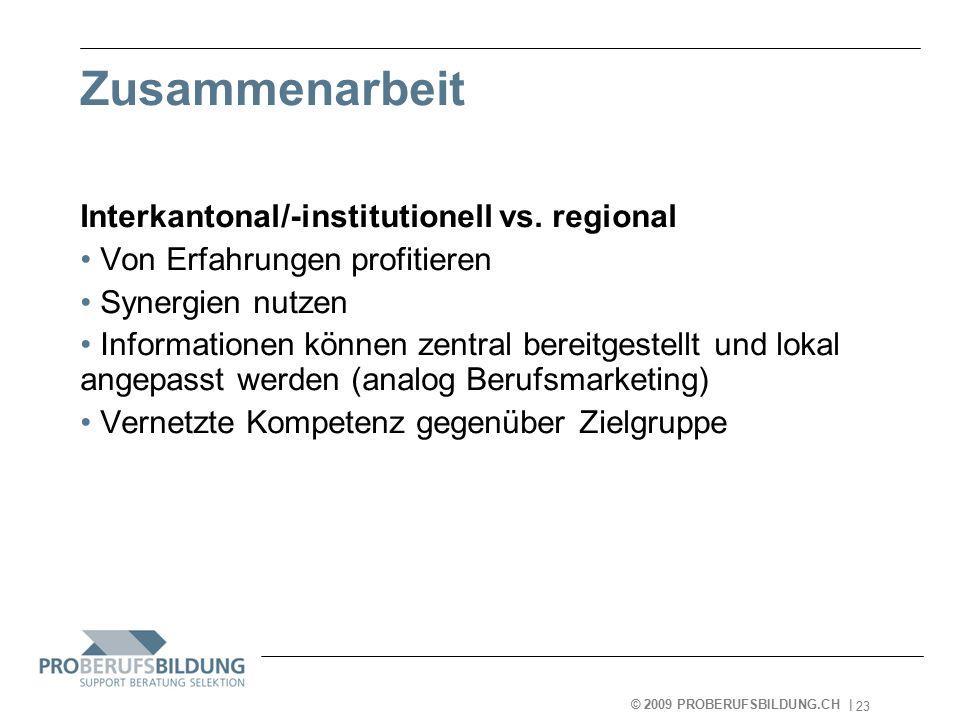 © 2009 PROBERUFSBILDUNG.CH | 2007-05-15 23 Zusammenarbeit Interkantonal/-institutionell vs.