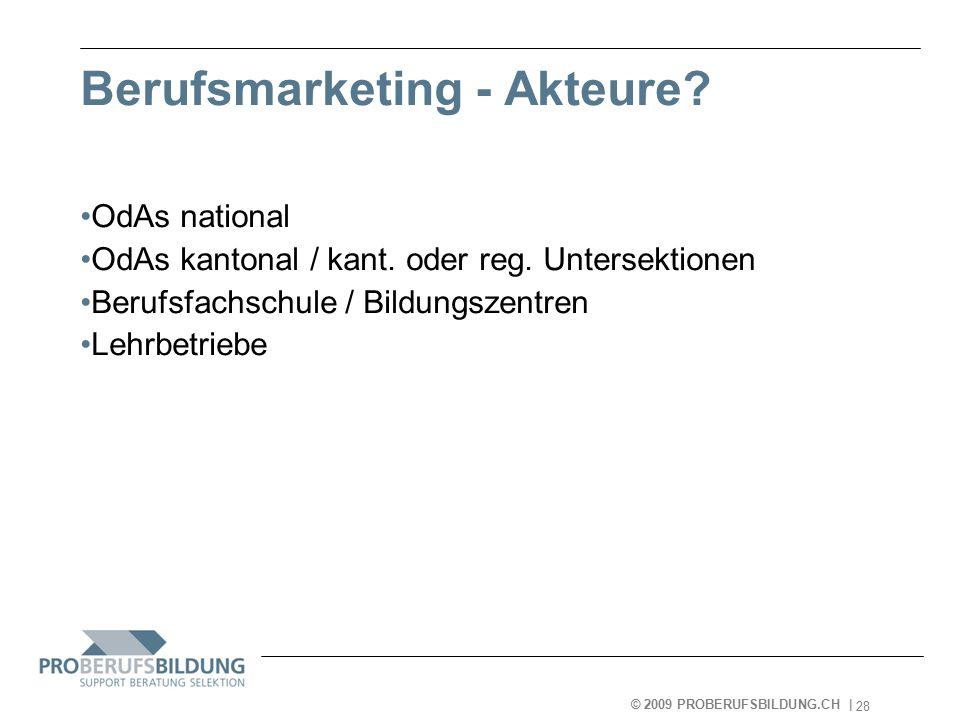 © 2009 PROBERUFSBILDUNG.CH | 2007-05-15 28 Berufsmarketing - Akteure.