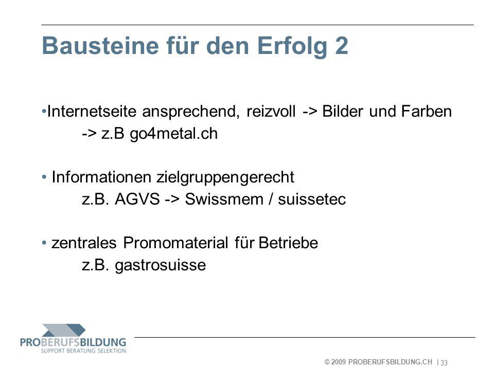© 2009 PROBERUFSBILDUNG.CH | 2007-05-15 33 Bausteine für den Erfolg 2 Internetseite ansprechend, reizvoll -> Bilder und Farben -> z.B go4metal.ch Informationen zielgruppengerecht z.B.