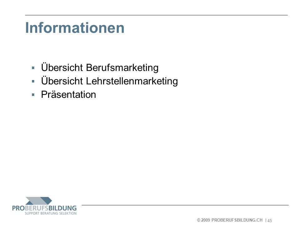 © 2009 PROBERUFSBILDUNG.CH | 2007-05-15 45 Informationen  Übersicht Berufsmarketing  Übersicht Lehrstellenmarketing  Präsentation