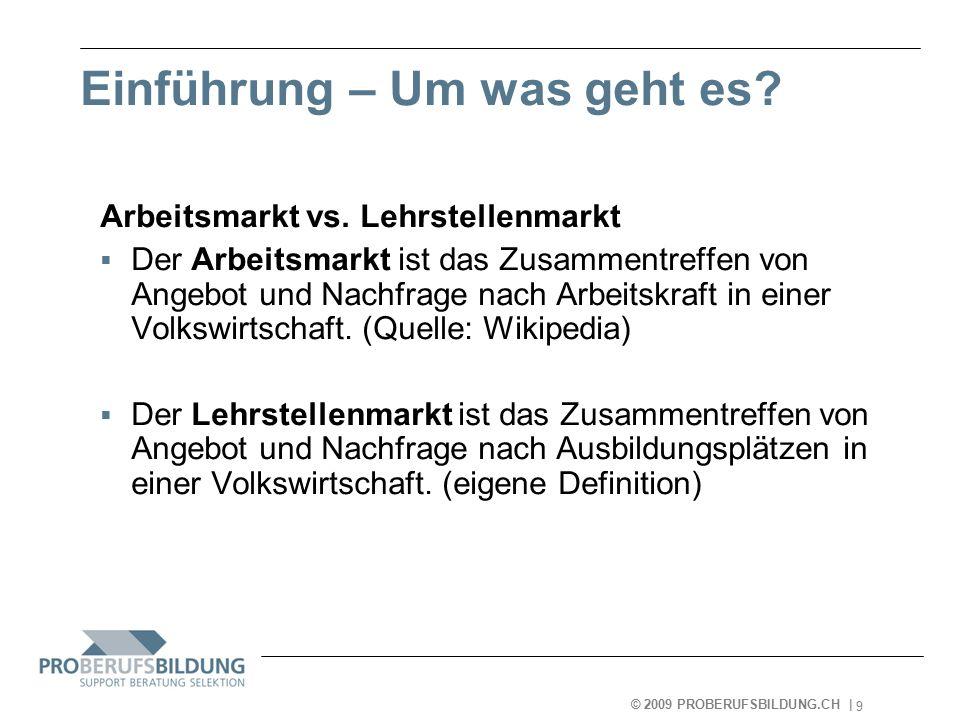 © 2009 PROBERUFSBILDUNG.CH   2007-05-15 10 Einführung - Um was geht es.
