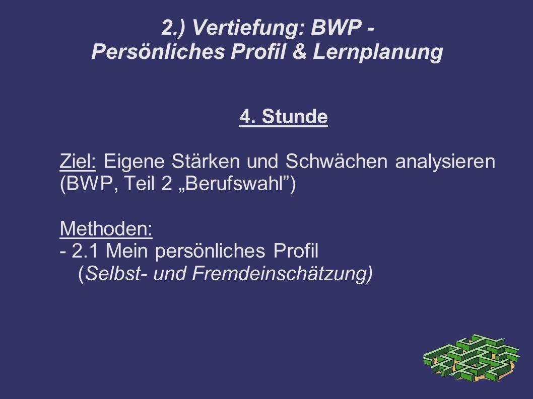 """4. Stunde Ziel: Eigene Stärken und Schwächen analysieren (BWP, Teil 2 """"Berufswahl"""") Methoden: - 2.1 Mein persönliches Profil (Selbst- und Fremdeinschä"""