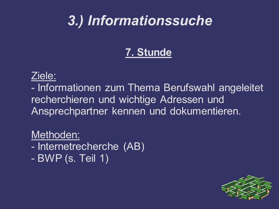 7. Stunde Ziele: - Informationen zum Thema Berufswahl angeleitet recherchieren und wichtige Adressen und Ansprechpartner kennen und dokumentieren. Met