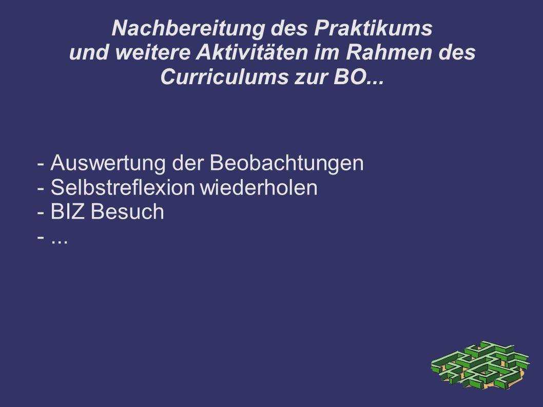 Nachbereitung des Praktikums und weitere Aktivitäten im Rahmen des Curriculums zur BO...